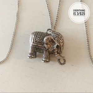 Elephant Charm Necklace with Silver Chain